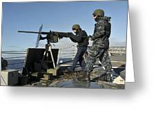 Seaman Fires A .50 Caliber Machine Gun Greeting Card