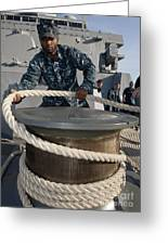 Seaman Runs A Mooring Line Greeting Card