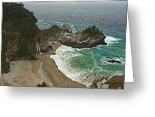 Seascape And Waterfall At Julia Pfeiffer Burns State Park Greeting Card