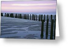 Seascape At Dusk With Pillars In Greeting Card