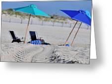 seashore 82 Beach Chairs Beach Umbrella and Tire Treads in Sand Greeting Card