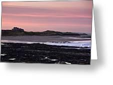 Seashore At Sunset, Northumberland Greeting Card