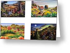 seasonal farm country folk art-set of 4 farms prints amricana American Americana print series Greeting Card