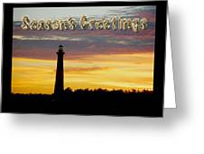 Season's Greetings Card - Cape Hatteras Lighthouse Sunset Greeting Card