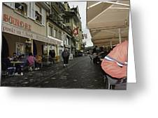 Seated In The Cafe Along The River In Lucerne In Switzerland Greeting Card