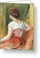 Seated Young Woman Greeting Card by Pierre Auguste Renoir