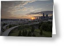 Seattle Arrival Sunset Greeting Card