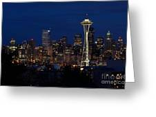 Seattle In The Evening Greeting Card by Alan Clifford