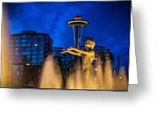Seattle Rain Boy Greeting Card