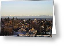 Seattle Suburb In Winter Greeting Card by Silvie Kendall