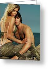 Sensual Portrait Of A Young Couple On The Beach Greeting Card