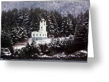 Sentinel Island Lighthouse In The Snow Greeting Card