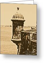 Sentry Tower Castillo San Felipe Del Morro Fortress San Juan Puerto Rico Rustic Greeting Card by Shawn O'Brien