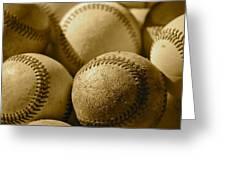 Sepia Baseballs Greeting Card