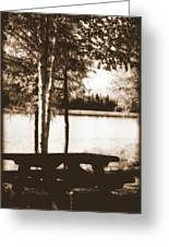 Sepia Picnic Table Greeting Card