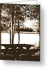 Sepia Picnic Table Ll Greeting Card