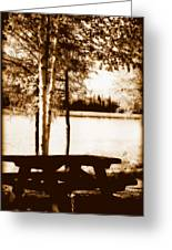 Sepia Picnic Table Lll Greeting Card