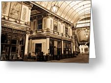 Sepia Toned Image Of Leadenhall Market London Greeting Card