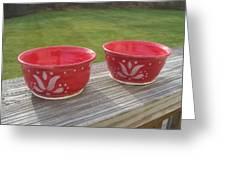 Set Of Small Red Bowls Greeting Card by Monika Hood