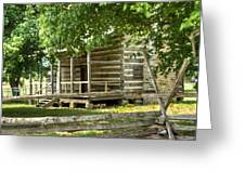 Settlers Cabin And Crosstie Fence 4 Greeting Card