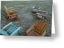 Several Lawn Chairs Scattered Greeting Card