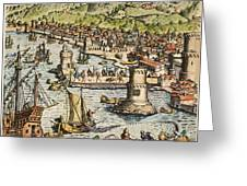 Seville: Departure, 1594. /ndeparture For The New World From Sanlucar De Barrameda, The Port Of Seville, Spain. Line Engraving, 1594, By Theodor De Bry Greeting Card