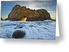 Shaft Of Sunlight Through Hole In Rock Greeting Card by Robert Postma