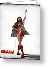 Shazam - Mary Marvel Greeting Card by Frederico Borges