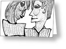 She And He Pen And Ink 2000 Greeting Card