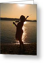 She Blows Bubbles Greeting Card