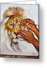 She Paints Him  Greeting Card by Martin Katon