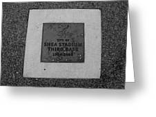 Shea Stadium Third Base In Black And White Greeting Card