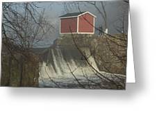 Shed By The Dam In Fog Greeting Card