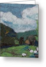Sheep In The Field Greeting Card by Nicole Besack