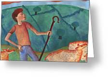 Shepherd Boy Detail Of Red Sky At Night Greeting Card