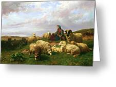 Shepherdess Resting With Her Flock Greeting Card