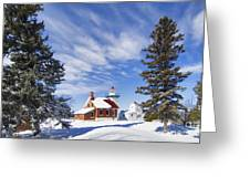 Sherwood Point Lighthouse And New Snow -  - D001650 Greeting Card