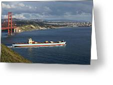 Ship Leaving Golden Gate Greeting Card