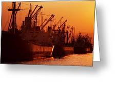 Shipping Freighters At Sunset Greeting Card