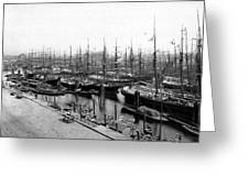 Ships In Harbour 1900 Greeting Card