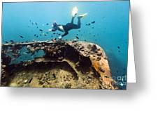 Shipwreck And Diver Greeting Card