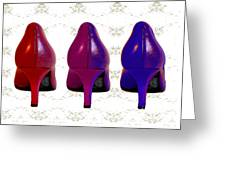 Shoes In Red To Blue Greeting Card