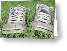 Shoes On The Green Grass Greeting Card