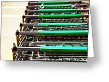 Shopping Carts Stacked Together Greeting Card