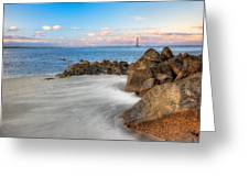 Shoreline View Morris Island  Greeting Card by Jenny Ellen Photography