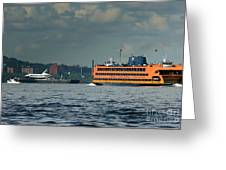 Shuttle Enterprise Glides Past Staten Island Ferry Greeting Card by Tom Callan