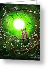 Siamese Cats In Spring Moonlight Greeting Card