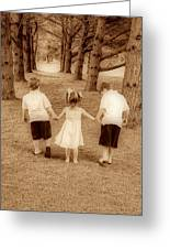 Siblings Taking A Walk Greeting Card