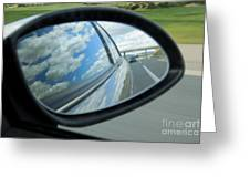 Side-view Mirror Reflecting Clouds Greeting Card