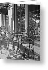 Sidewalk Cafe - Afternoon Shadows Greeting Card by Suzanne Gaff